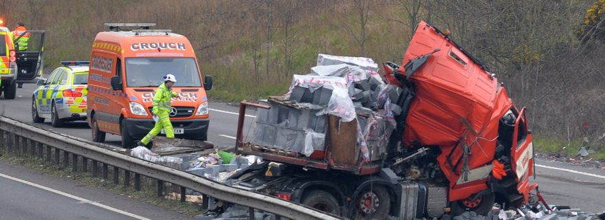 Scene of the accident on the A14 near Welford