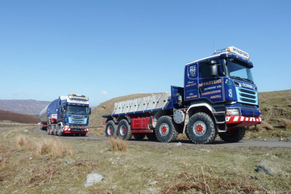 Peter Sutherland, Scania, McFadyens Transport, Pusher, Puller, Wind Farm