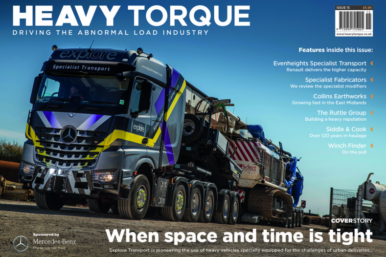 HeavyTorque, Issue Fifteen, Explore Transport, DAF Trucks, Josh Spencer, Winches, Fabrication, Collins Earthworks, Volvo Trucks, Nooteboom, Trailers, Evenheights Specialist Transport, Renault Trucks, Fassi, MV Commercial, Mercedes Benz Trucks, SLT, Actros, Arocs, Ruttle Plant, Volvo Trucks, Pollock Lift & Shift, Pollock (Scotrans), Siddle & Cook, Smiths Heavy Haulage, Scania