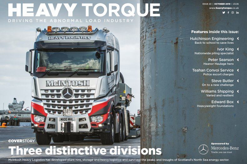 Welcome to HeavyTorque Issue 20, October 2019. The magazine dedicated to the specialist transport industry